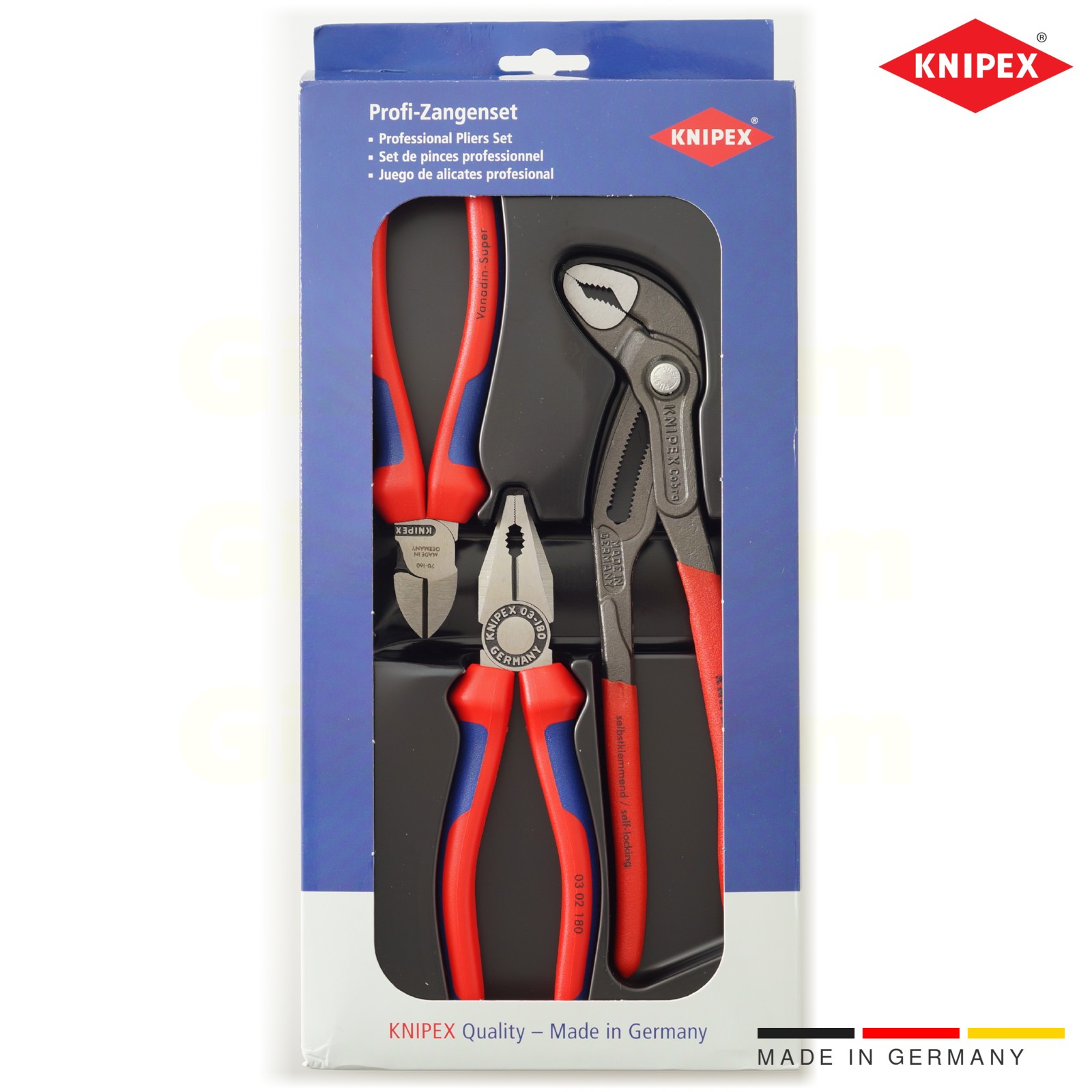 Knipex pliers set of combination diagonal and Cobra pliers